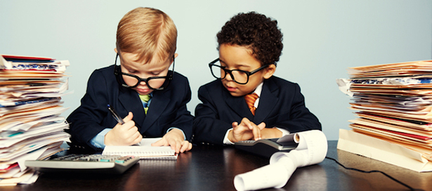 Children dressed as accountants