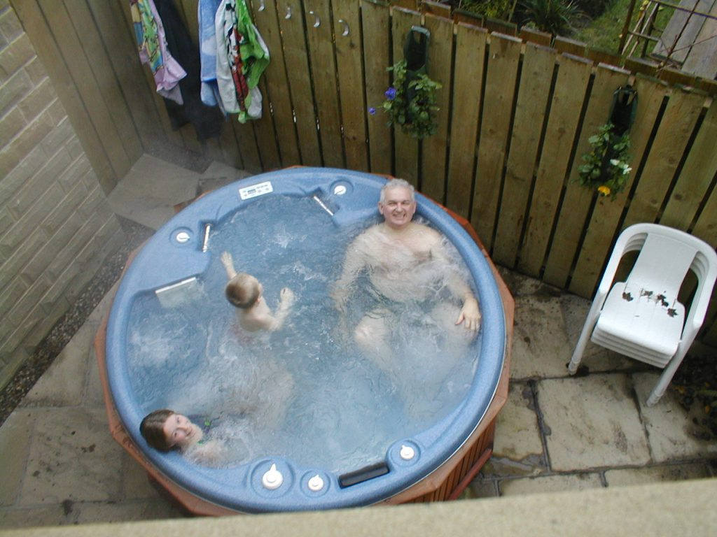 Chris Makin & family relaxing in their hot tub