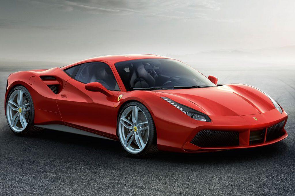 A red Ferrari supercar