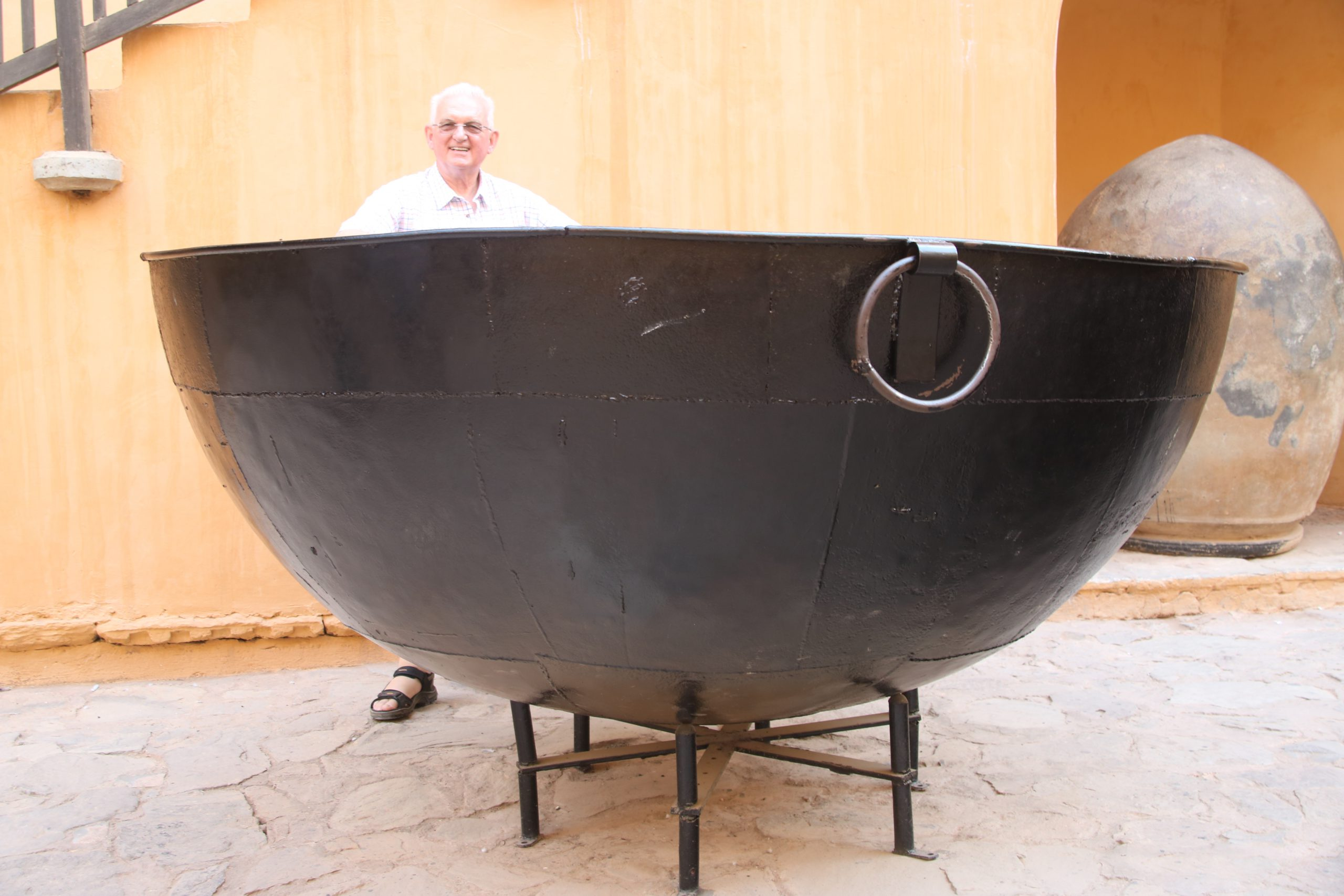 Chris posing next to a very large bowl