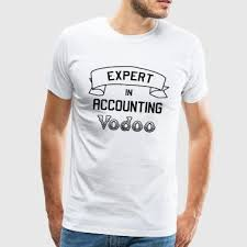 Man wearing a white Expert Accounting Voodoo t-shirt