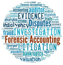 Forensic accounting word cloud: words associated with forensic accounting.